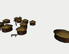 Primitive Rural Village with 13 Individual Shacks 3D