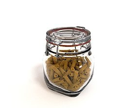 Glass Jar with pasta 3D model