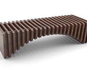 chair Parametric wooden bench 3D model