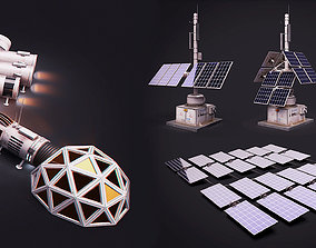 Space Craft Solar Panels Mars Colony Spaceship 3D asset 1