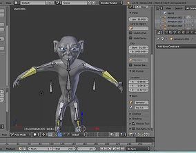 3D model low poly gollum rig
