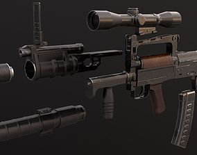 3D asset OTs-14 Groza with attachments