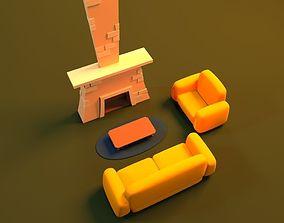 3D model Cartoon Fire Place firaplace