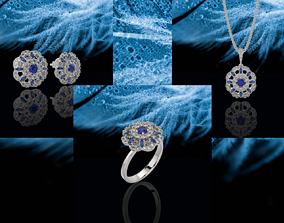 3D Classical Blue floral Jewelry Set