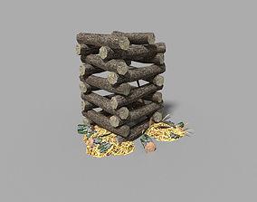 3D model low poly medieval wood pile