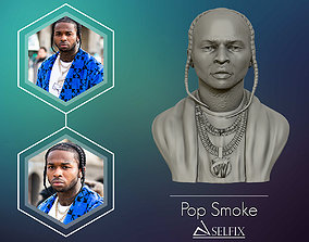 3D model of POP SMOKE portrait sculpture