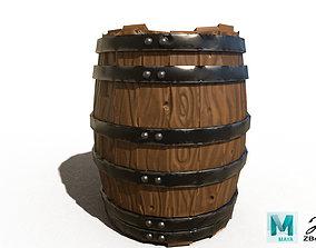3D model realtime Wooden Barrel west