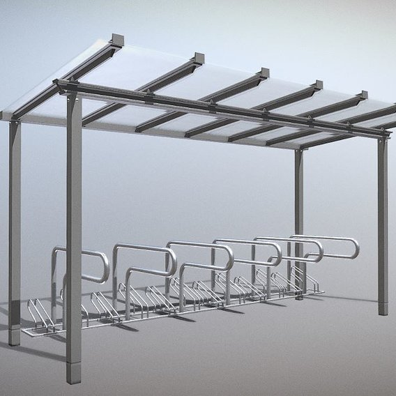 Bicycle Stand [1] Version [8] Glass Roof 4800mm