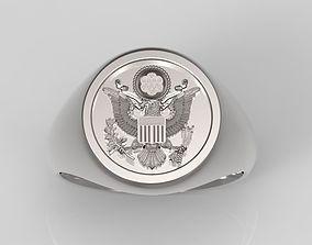3D print model USA Signet Ring - Signet Ring - American