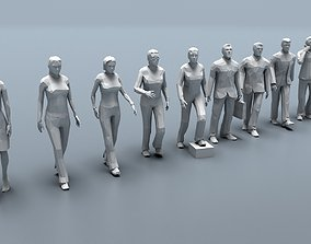 Ten low poly people 3D asset