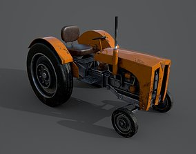 Old farm tractor 3D model realtime