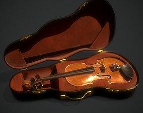 Violin in a black case 3D asset