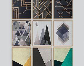 3D model Geometric Triangles Print Scandinavian Abstract