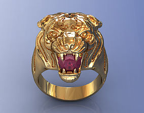 3D print model Tiger Ring with Ruby