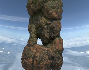 3D model Low poly Brown Floating Island Mossy Rock 04