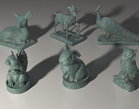 6 middle poly animal statuettes 3D