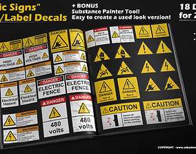 Electric Signs - Sticker- Label - 18 Decals 3D