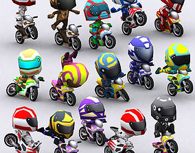 3DRT-Chibii-racers-Sport-bikes animated low-poly