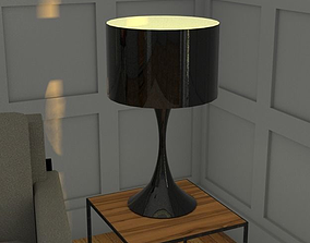 3D model realtime Black lacquer Paloma table lamp h69 cm