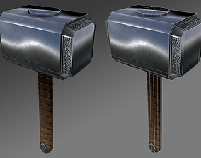 3D model Thors hammer Low and Hig Poly