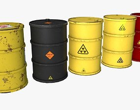 Metal Barrels PBR 3D asset