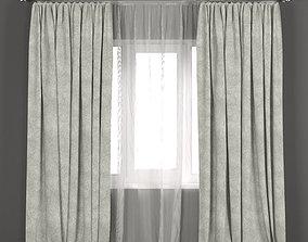 Light green velvet curtains with tulle 3D model
