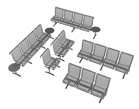3D Waiting Room Chair Collection