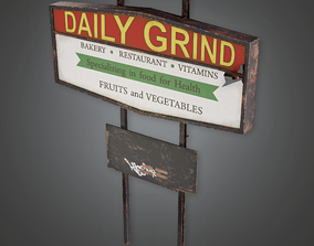 3D model Post Apocalyptic Abandoned Sign 03 - PAS - PBR 1