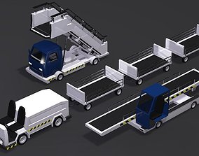 3D model Baggage Cart Passenger Boarding Stairs Car