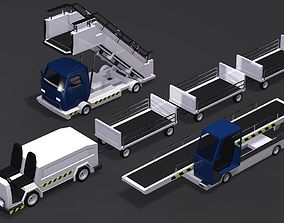 3D model Baggage Cart Passenger Boarding Stairs Car