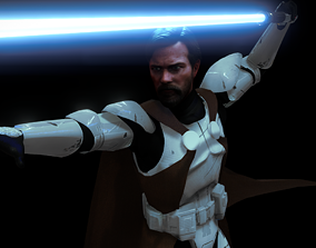3D Obi Wan With Clone Armor - Rigged