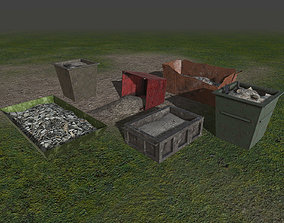 Garbage scrap containers - PBR - lowpoly - 3D asset 2