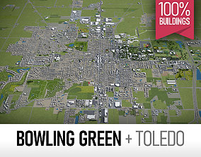 Bowling Green and Toledo - full cities 3D asset