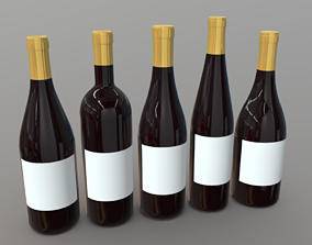 Wine Bottles 3D model low-poly PBR