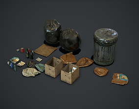 3D asset Garbage and Trash Props pack for games