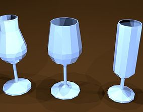Low poly glasses 3D asset