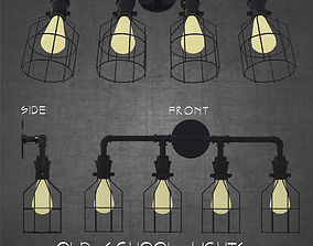 3D Old school rustic industrial 4 lights architectural 1