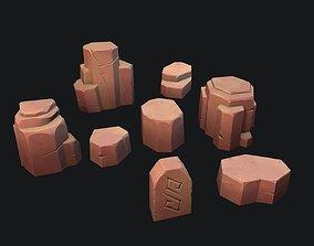3D model Stylized desert stone
