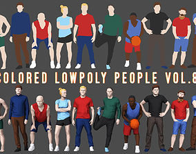 Colored Lowpoly People female 3D model game-ready