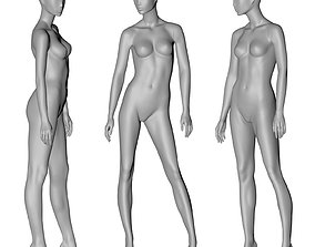 fashion female mannequin stand position 3d print model