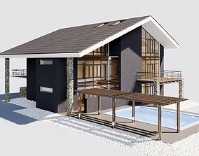 Villa with pool 3D