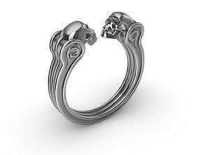silver 3D print model Ring Skull