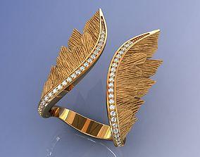 3D print model Gold Wings Ring Diamond
