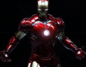 3D rigged steel iron man