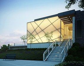 Modern Art Building Entrance 3D