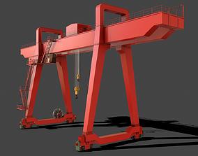 3D asset PBR Double Girder Gantry Crane V1 - Red
