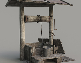 Old well 3D asset game-ready