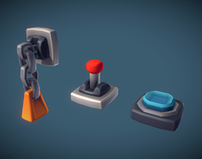 3D asset Cube World Switch n Lever - Proto Series
