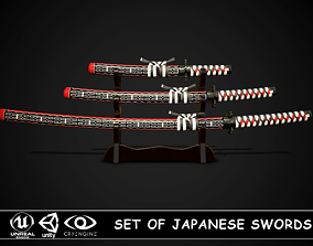Set of japanese swords 02 3D model