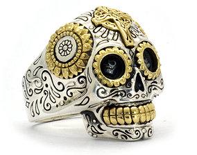 3D printable model happy skull man ring
